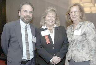 Left to Right: LSNY Executive Director Andrew Scherer, New York State Bar Association President Kathryn Grant Madigan, LSNY Board Chair Fern Schair.