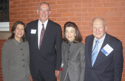 Left to Right: Deborah Hankinson, the Honorable Howard H. Dana, Jr., LSC President Helaine M. Barnett, and Herbert S. Garten.