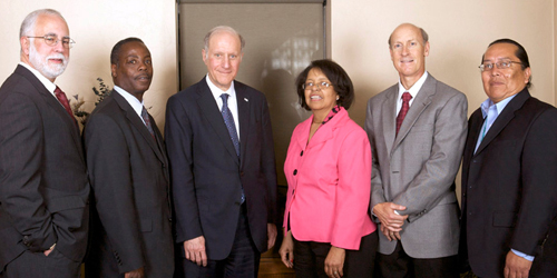 Left to Right: Victor M. Fortuno, president of LSC; Anthony L. Young, executive director of Southern Arizona Legal Aid; Chairman Levi; Lillian O. Johnson, executive director of Community Legal Services; Justice Pelander; and Levon Henry, executive director of DNA-People's Legal Services.