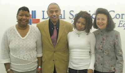 Left to right: Katrina Miller, Principal of the Annapolis Road Academy Alternative High School; Congressman John Conyers, Jr.; Ebony Milligan, Annapolis Road Academy student and essay contest winner; LSC President Helaine M. Barnett.