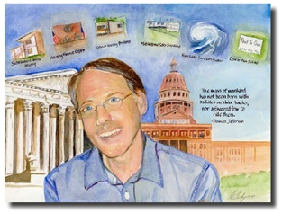 Robert Doggett, attorney with Texas RioGrande Legal Aid and Houser Award recipient, as portrayed by artist Pat Bailey. Picture courtesy Texas Low Income Housing Information Service.