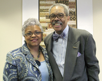 LSC's Evora Thomas, this year's winner of the Corporation's Thurgood Marshall Award, stands with Judge Bell.