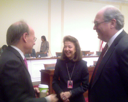Chairman Cohen (left) talks with LSC President Helaine M. Barnett and LSC Vice-Chairman Michael D. McKay.