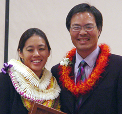 M. Nalani Fujimori (left) and Jeff Sia, president of the Hawaii State Bar Association.