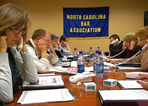 Volunteers provide legal assistance over the phone during the North Carolina Bar Association's Public Service Day.