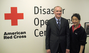 James J. Sandman, president of LSC, stands with Julie K. Choi, senior director for disaster partnerships at the Red Cross.