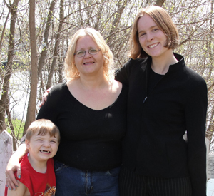 Patricia Miller, center, with her son and attorney Susan Griskonis.