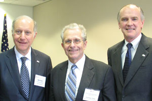 Laurence H. Tribe (center) with LSC Board Chairman John G. Levi (left) and LSC President James J. Sandman.