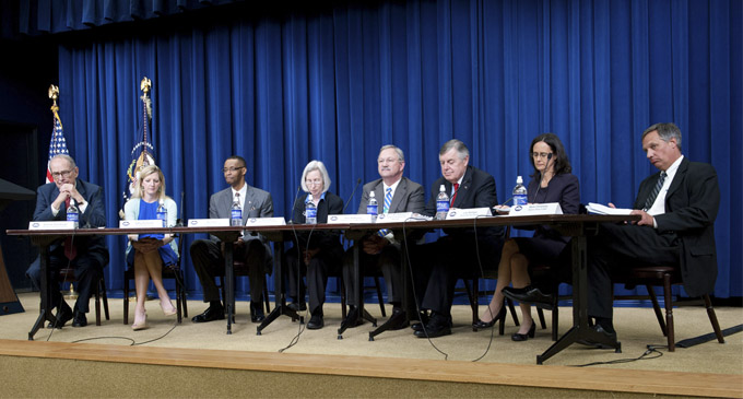 White House Forum Panelists (left to right):  César Torres, Executive Director, Northwest Justice Project; Alison Paul, Executive Director, Montana Legal Services; Anthony Young, Executive Director, Southern Arizona Legal Services; James J. Sandman (moderator), LSC President; Colleen Cotter, Executive Director, Legal Aid Society of Cleveland; John Whitfield, Executive Director, Blue Ridge Legal Services; Phyllis Holmen, Executive Director, Georgia Legal Services
