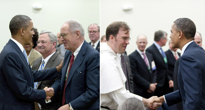 Left: President Barack Obama greets Richard Thornburgh, former Pennsylvania Governor and U.S. Attorney.  Right: President Barack Obama greets Father Pius Pietrzyk, LSC Board member.