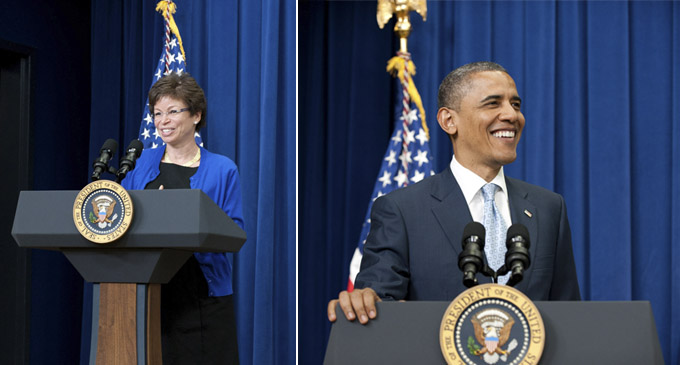 Left: Valerie Jarrett, Senior Advisor to the President. Right: President Barack Obama.