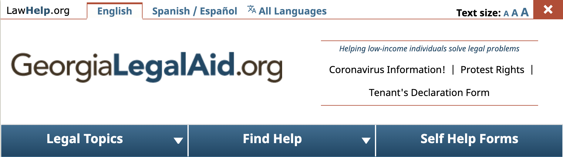 Georgia Legal Aid's website includes a banner section at the top of their website with a link to an FAQ page for coronavirus information
