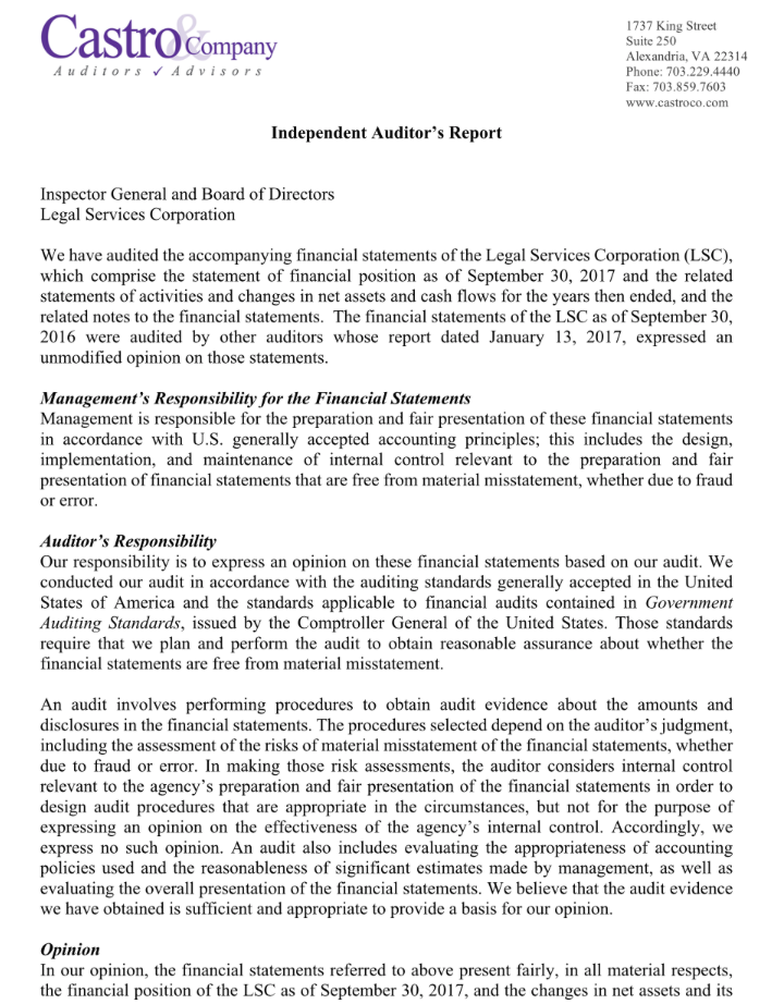 Independent Auditor's Report p1
