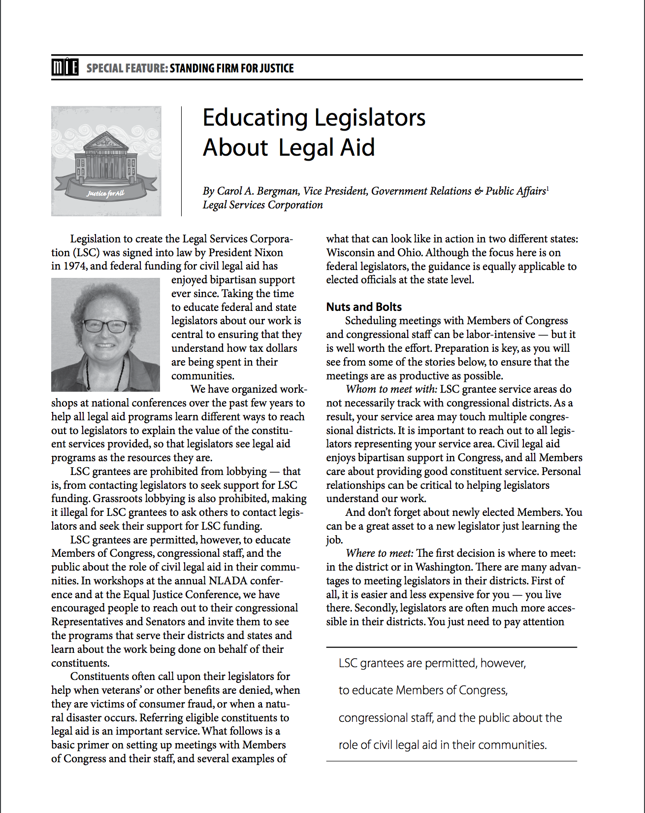 Educating Legislators About Legal Aid
