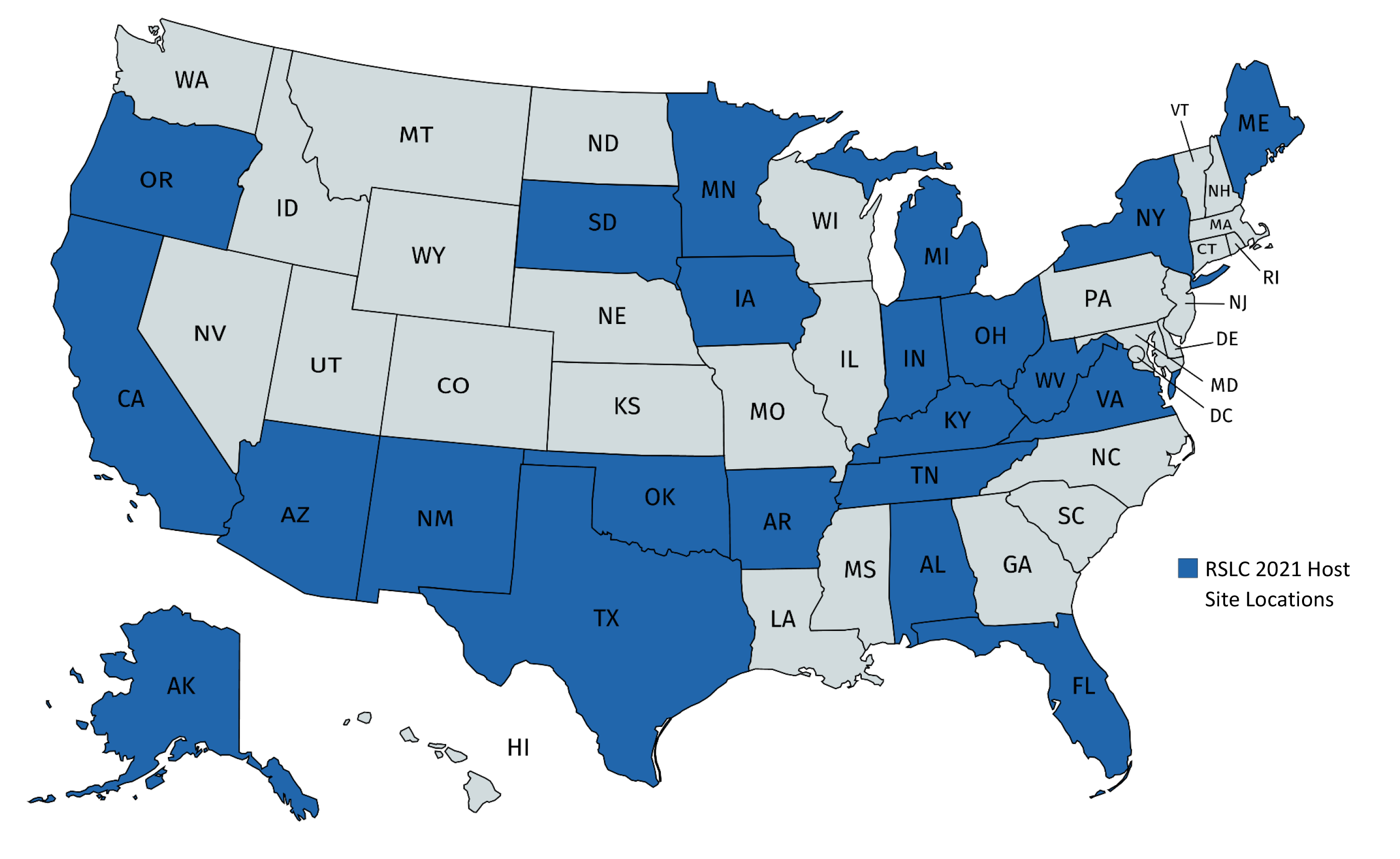 RSLC Fellow Host State Map 2021