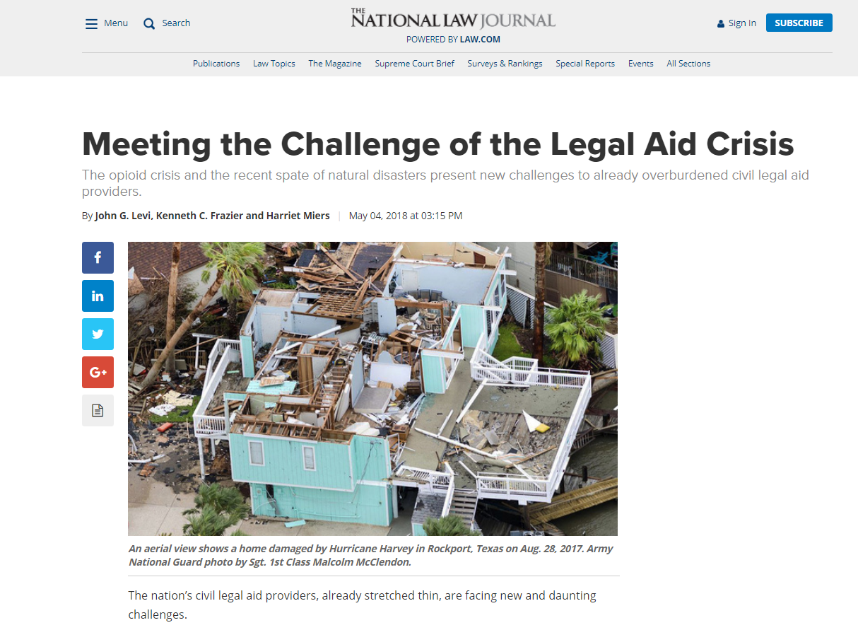 headline of LSC's op-ed in the National Law Journal