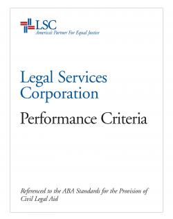 LSC Performance Criteria Cover Page Image